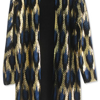 Gold Leopard Print Long Knit Cover-up