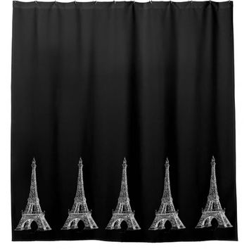 Paris Eiffel Tower Black Shower Curtain