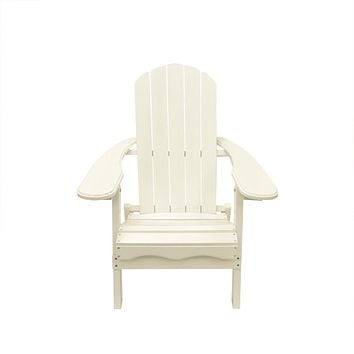 "40"" White Wooden Folding Outdoor Patio Adirondack Chair"