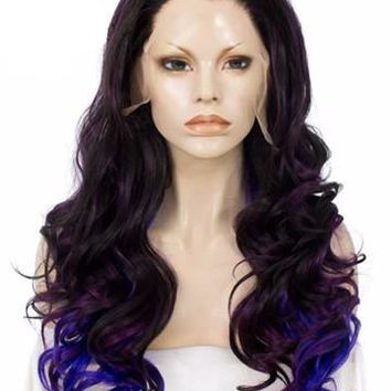 Three Tones Purple Mixed Wave Long Synthetic Lace Front Wig