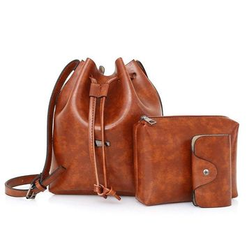 3 Pieces Faux Leather Bucket Bag Set