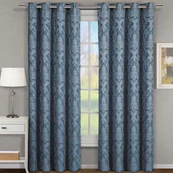 BLUE Blair Jacquard Grommet Top Curtain Panel Pair (Two Panels )