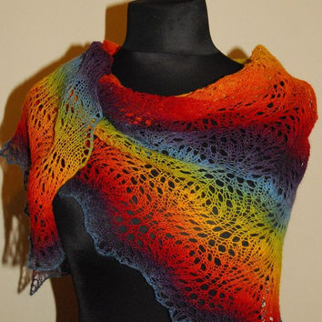 Rainbow Scarf, Rainbow Shawl, Triangle Shawl, Knit Shawl, Hand Knit Rainbow Scarf, Made to order