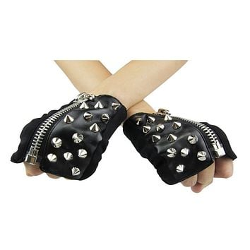 Vegan Leather Fingerless Studded Black Gothic Motorcycle Half Gloves for Men or Women