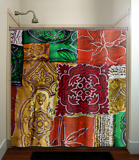 Ancient persian art red orange green gold from for Red and gold bathroom set