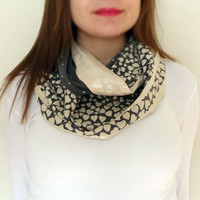 Beige Gray Love Scarf Soft Infinity Scarf Women Fashion Accessories Hearts Scarf Valentines Day Gift Ideas For Her