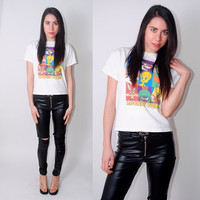 Vintage 1990s Looney Tunes Cropped white novelty graphic tshirt