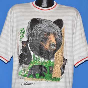 90s Maine Black Bears Striped Deadstock t-shirt Large
