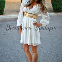 THE GLIMMERING GODDESS WHITE CHIFFON DRESS