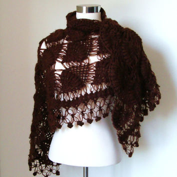 Brown Mohair Shawl by MODAcrochet on Etsy