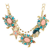Betsey Johnson Shell Shocked Blue Coral Stone Frontal Necklace Blue Multi - Zappos.com Free Shipping BOTH Ways