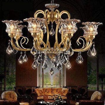 Luxury Modern The Copper Chandeliers Crystal Chandelier Living Room Lights Restaurant Retro Ceiling Lamps LED Lustres De Cristal
