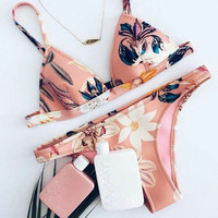Fashion Multicolor Flower Print Triangle Bikini Set Swimsuit Swimwear