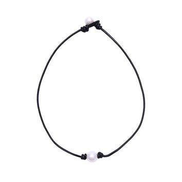 pearl single cultured freshwater pearl necklace choker for women genuine leather jewelry handmade  number 1
