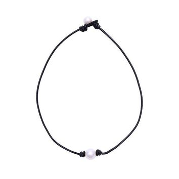 Pearl Single Cultured Freshwater Pearl Necklace Choker for Women Genuine Leather Jewelry Handmade