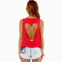Red Heart Cut-out Tank