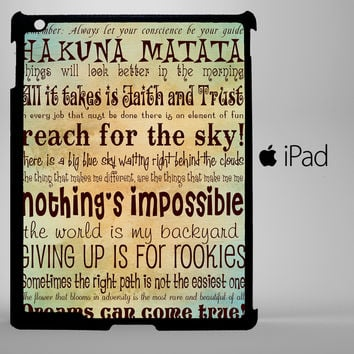 Disney Taught Me Quote Hakuna iPad 2, iPad 3, iPad 4, iPad Mini and iPad Air Cases