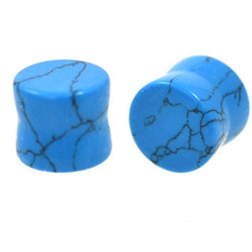 1/2 Inch (12.5mm) Light Blue Synthetic Turquoise Ear Plugs Unique Stone Gauges - Sold In Pairs