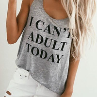 I Can't Adult Today Graphic Top (more colors)
