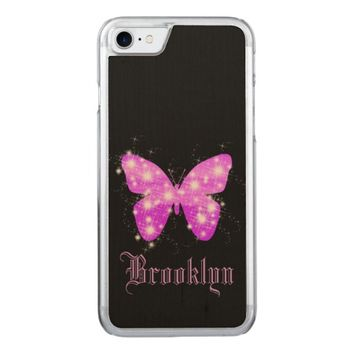 Purple butterfly and stars on black with name carved iPhone 7 case