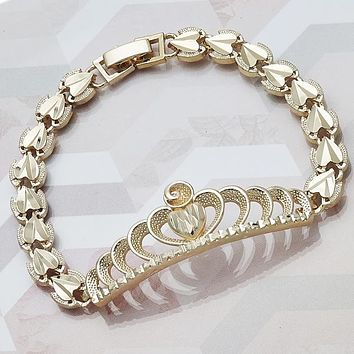 Gold Tone Women Crown Fancy Bracelet, by Folks Jewelry