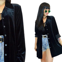 vintage 90s black velvet duster jacket soft grunge gothic witchy ultra draped vamp top oversized shirt blouse cyber grunge minimlaist medium