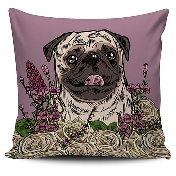 Illustrated Pug Pillow Cover