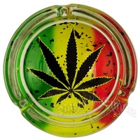 Distressed Rasta Marijuana Leaf Ashtray @ RastaEmpire.com