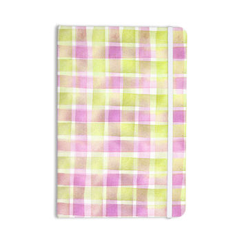 "Michelle Drew ""Watercolour Check Tartan"" Magenta Yellow Everything Notebook"