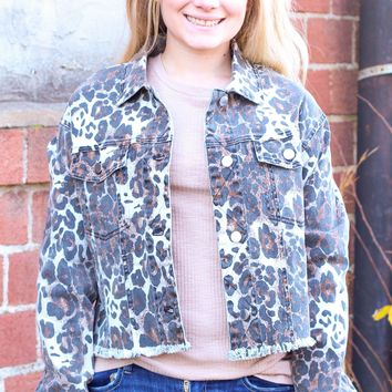 {Taupe} Leopard Denim Cropped Jacket - Size LARGE
