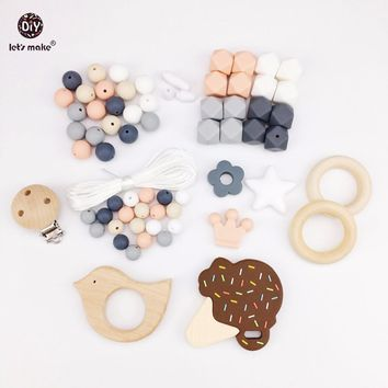 Let's Make Baby Teething Accessories Silicone Beads Ice Cream Wooden Bird Pacifier Clip DIY Jewelry Nursing Necklace Pendant