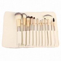 12 Pcs Cosmetic PU Brush Bag Horsehair Makeup Brushes Set