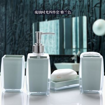 Crystal love bathroom set 4pcs 1 set bathroom accessories Soap Dispens+Toothbrush Holders+soap box+tooth cup+Free shipping