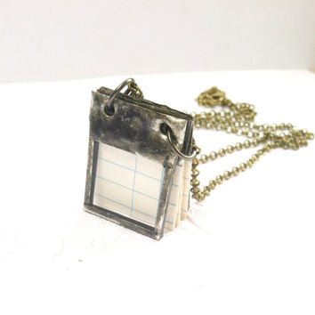 Journal Necklace, Tiny Scrap Book, Dream Journal, Soldered Glass Book Necklace, Book Pendant, Empty Journal, Book of Wishes, Diary Necklace