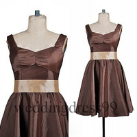 Custom Brown Taffete Short Bridesmaid Dresses 2014 with Bow Formal Prom Dresses Fashion Evening Gowns Party Dress Cocktail Dress