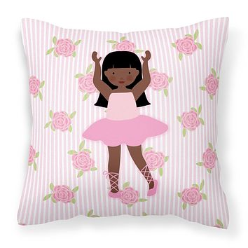 Ballerina African American Long Hair Fabric Decorative Pillow BB5180PW1414
