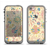 The Subtle Yellow & Pink Sketched Lace Patterns v21 Apple iPhone 5c LifeProof Fre Case Skin Set