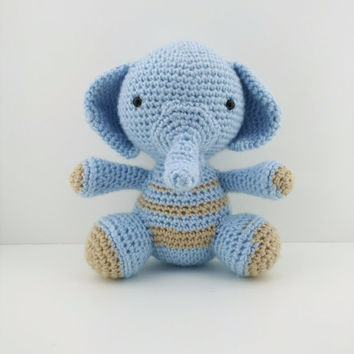 Elephant Plush, Amigurumi crochet, cute plushie, Kawaii animal, Kawaii plush, desk decoration, crochet animal, amigurumi toy, cute crochet