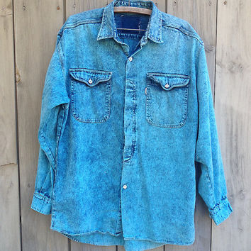 "Vintage shirt | 90s acid wash denim ""Fax"" oversized button down shirt"