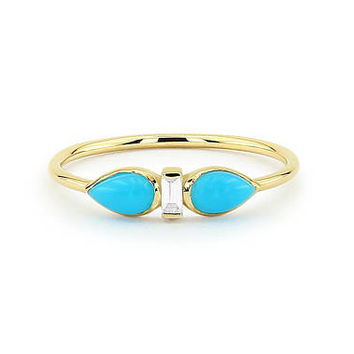 Turquoise Ring / Turquoise Jewelry / Turquoise Statement Ring with Baguette Diamond in 14k Gold / Turquoise Ring Gold