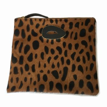 Tessa Agate Leopard Leather Clutch Handbag