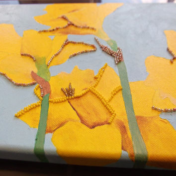 Daffodil painting on canvas by Hayley Mallett - Mixed Media Art - Daffodils - artwork