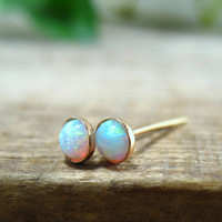 Post/Stud Earrings Gold Filled 4mm Pink Opal