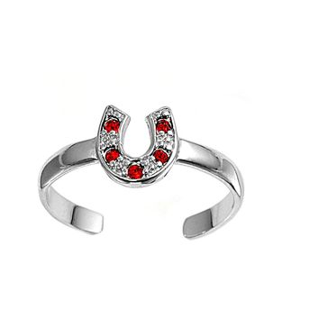 Sterling Silver Goodluck Horseshoe 7MM  Toe Ring/ Knuckle/ Mid-Finger CZ Ruby CZ