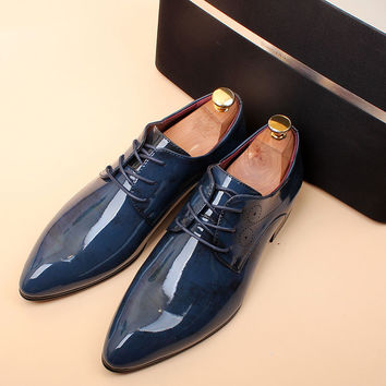 British style Men Dress shoes Genuine leather Flats Pointed toe