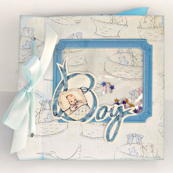 Newborn boy mini album, Scrapbooking mini album with shacker box, Blue photo book, Baby shower party, Memory photo album, Ready to ship
