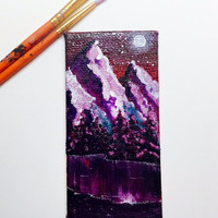 Miniature Mountain Painting, Surreal Landscape, Acrylic Painting, Original Art, Miniature Art, Small Canvas, Collectible Art, Home Decor