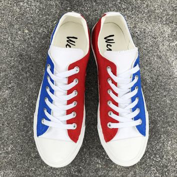 Wen Low Top Canvas Shoes Blue Red White France Flag Hand Painted Shoes Original Design Sneakers Men Women Plimsolls Trainers