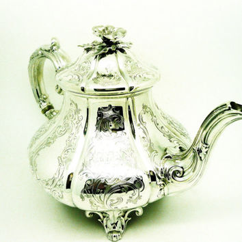 Solid Silver Teapot, Sterling, ANTIQUE, English, Tea Pot, Victorian, Bright Cut, Hallmarked London 1852, REF:254S