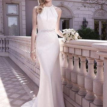 Casablanca Bridal 2128 Halter Satin Sheath Wedding Dress